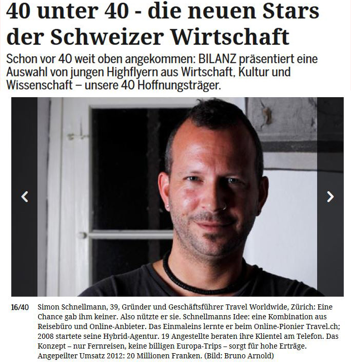 Bilanz Artikel Simon Schnellmann travel worldwide