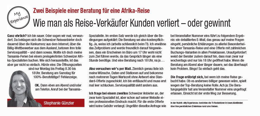 Travel Indside Artikel über travel worldwide Afrika